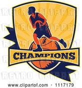 Vector Clip Art of Retro Basketball Player Athlete on a Shield with CHAMPIONS Text by Patrimonio
