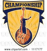 Vector Clip Art of Retro Basketball Player Athlete on a Shield with CHAMPIONSHIP Text by Patrimonio