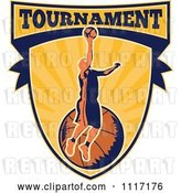 Vector Clip Art of Retro Basketball Player Athlete on a Shield with TOURNAMENT Text by Patrimonio