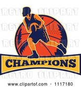 Vector Clip Art of Retro Basketball Player Athlete over a Ball and Banner with CHAMPIONS Text by Patrimonio