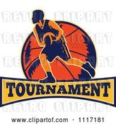 Vector Clip Art of Retro Basketball Player Athlete over a Ball and Banner with TOURNAMENT Text by Patrimonio