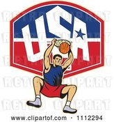 Vector Clip Art of Retro Basketball Player Dunking the Ball over a USA Backboard by Patrimonio