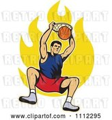 Vector Clip Art of Retro Basketball Player Dunking the Ball over Flames by Patrimonio