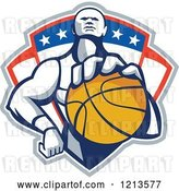 Vector Clip Art of Retro Basketball Player Holding a Ball over a Patriotic Shield by Patrimonio
