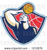 Vector Clip Art of Retro Basketball Player Holding a Ball over His Head in a Shield by Patrimonio