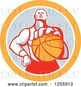 Vector Clip Art of Retro Basketball Player Holding out a Ball in a Gray and Orange Circle by Patrimonio