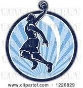 Vector Clip Art of Retro Basketball Player Jumping for a Slam Dunk over a Circle of Blue Sunshine by Patrimonio