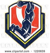 Vector Clip Art of Retro Basketball Player Jumping for a Slam Dunk over a Shield by Patrimonio