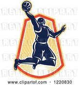 Vector Clip Art of Retro Basketball Player Jumping for a Slam Dunk over a Sunny Crest by Patrimonio