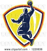 Vector Clip Art of Retro Basketball Player Jumping for a Slam Dunk over a Yellow Shield by Patrimonio