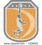 Vector Clip Art of Retro Basketball Player on a Shield by Patrimonio