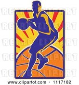 Vector Clip Art of Retro Basketball Player over Rays and a Ball by Patrimonio
