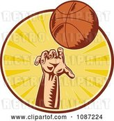 Vector Clip Art of Retro Basketball Player Throwing a Ball over Rays by Patrimonio