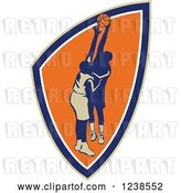 Vector Clip Art of Retro Basketball Players in a Shield by Patrimonio