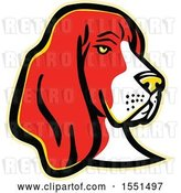 Vector Clip Art of Retro Basset Hound Dog Mascot Head by Patrimonio