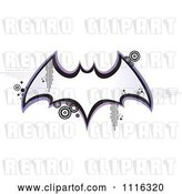 Vector Clip Art of Retro Bat Frame with Pixels and Circles by Amanda Kate