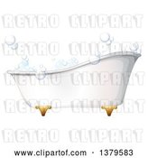 Vector Clip Art of Retro Bath Tub with Bubbles by Graphics RF