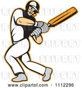 Vector Clip Art of Retro Batsman Swinging a Cricket Bat by Patrimonio