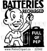 Vector Clip Art of Retro Batteries Recharged Man by BestVector