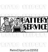 Vector Clip Art of Retro Batteries Service Guy by BestVector
