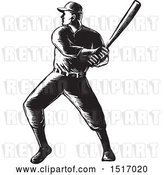 Vector Clip Art of Retro Batting Baseball Player, in Woodcut by Patrimonio