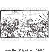 Vector Clip Art of Retro Battle Between Cranes and Pygmies 1 by Picsburg