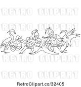 Vector Clip Art of Retro Battle Between Cranes and Pygmies 2 by Picsburg