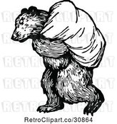 Vector Clip Art of Retro Bear Carrying a Sack by Prawny Vintage