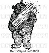 Vector Clip Art of Retro Bear Eating Honey from a Log by Prawny Vintage