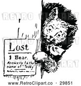 Vector Clip Art of Retro Bear Posting a Lost Sign by Prawny Vintage