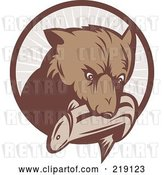 Vector Clip Art of Retro Bear with a Fish in His Mouth over a Brown Circle by Patrimonio