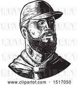 Vector Clip Art of Retro Bearded Chef Wearing a Baseball Cap, in Woodcut by Patrimonio