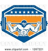 Vector Clip Art of Retro Bearded Muscular Male Bodybuilder Squatting with a Barbell in a Blue White and Orange Shield by Patrimonio