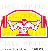 Vector Clip Art of Retro Bearded Muscular Male Bodybuilder Squatting with a Barbell in a Red White and Yellow Shield by Patrimonio