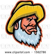 Vector Clip Art of Retro Bearded Senior Fisher Man Wearing a Yellow Bucket Hat by Patrimonio