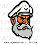 Vector Clip Art of Retro Bearded Senior Sea Captain by Patrimonio