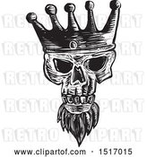 Vector Clip Art of Retro Bearded Skull Wearing a Kings Crown, in Woodcut by Patrimonio