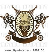 Vector Clip Art of Retro Bearded Steampunk Guy in an Oval Ray Frame with Gears and a Banner by BNP Design Studio
