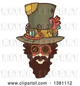 Vector Clip Art of Retro Bearded White Steampunk Mans Face Wearing a Top Hat by BNP Design Studio