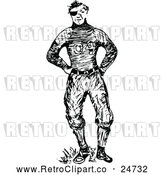 Vector Clip Art of Retro Beat up Football Player by Prawny Vintage