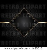 Vector Clip Art of Retro Beautiful Golden Diamond Shaped Invitation Frame and Line over a Black Pattern by KJ Pargeter