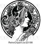 Vector Clip Art of Retro Beautiful Lady in Profile and Floral Circle by Prawny Vintage