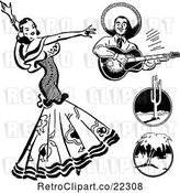 Vector Clip Art of Retro Beautiful Mexican Flaminco Dancer by BestVector