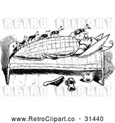 May 4th, 2018: Vector Clip Art of Retro Bed Bugs Attacking a Man 1 by Prawny Vintage