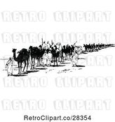 Vector Clip Art of Retro Bedoin Tribe with Camels by Prawny Vintage