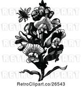 Vector Clip Art of Retro Bee and Snap Dragon Plant by Prawny Vintage