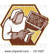 Vector Clip Art of Retro Bee Keeper Holding a Smoker and Frame over an Octagon of Rays by Patrimonio