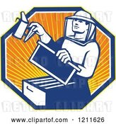 Vector Clip Art of Retro Bee Keeper Holding a Smoker over an Octagon of Rays by Patrimonio
