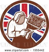 Vector Clip Art of Retro Beekeeper Smoking out a Hive in a Union Jack Flag Circle by Patrimonio