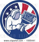 Vector Clip Art of Retro Beekeeper Smoking out a Hive in an American Flag Circle by Patrimonio